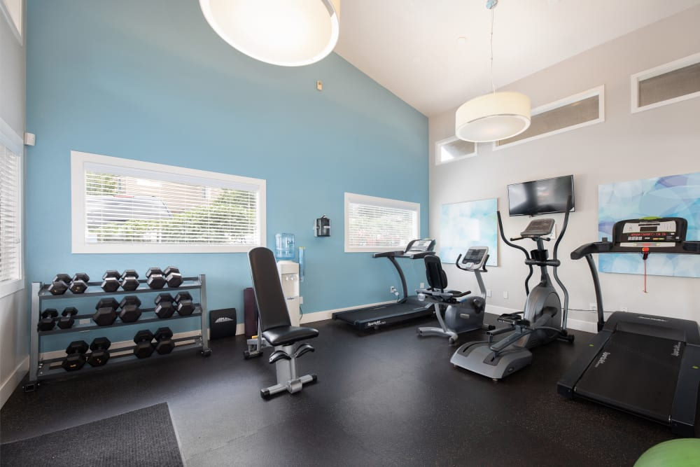 Fitness center with cardio machines and free weights at Latitude Apartments in Everett, Washington