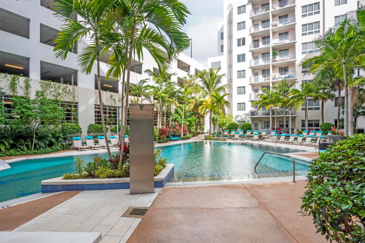 Swimming pool area surrounded by lush flora at Loftin Place Apartments in West Palm Beach, Florida