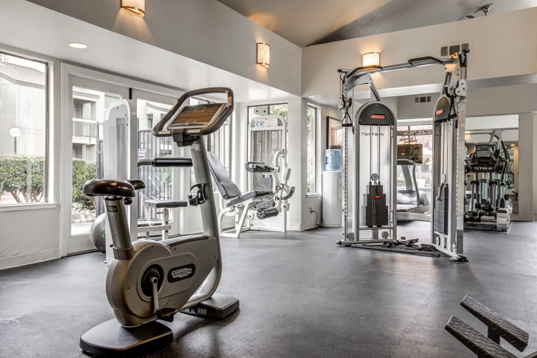 On-site, fully equipped fitness center at Waterfield Square Apartment Homes in Stockton, CA