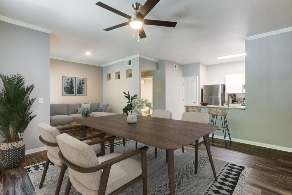Cozy, sunny dining and living room space at Miramonte and Trovas in Sacramento, California