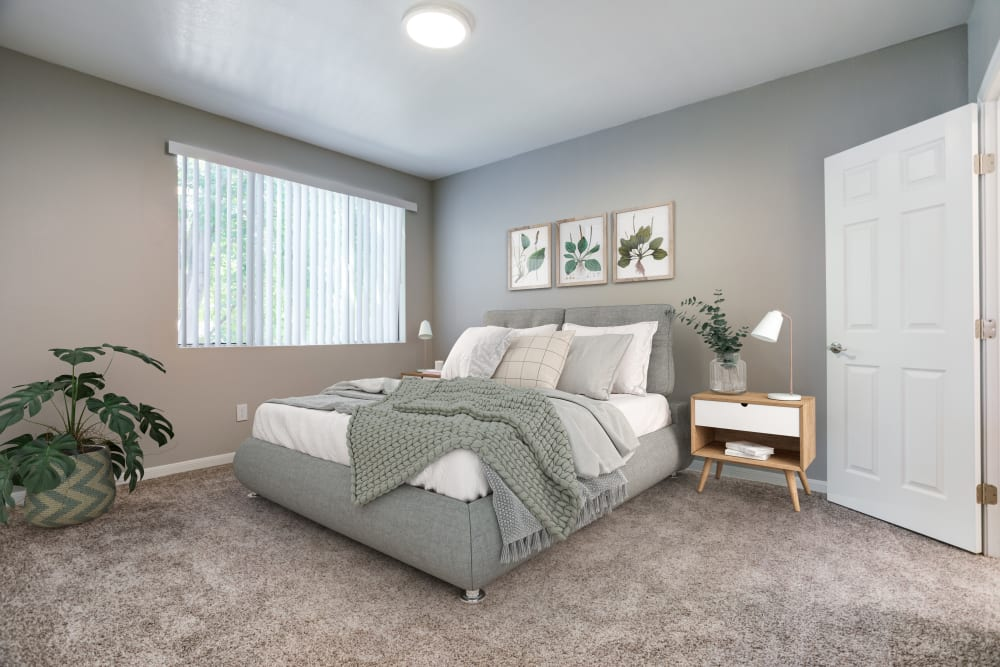 Master bedroom with a large window for natural lighting at Miramonte and Trovas in Sacramento, California