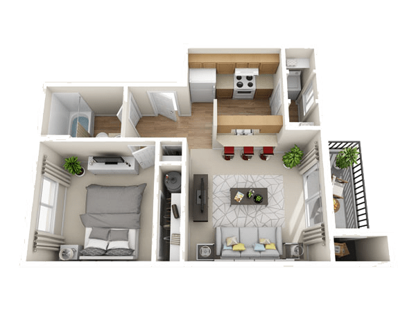 The Pippin floor plan at The Park at Cooper Point Apartments
