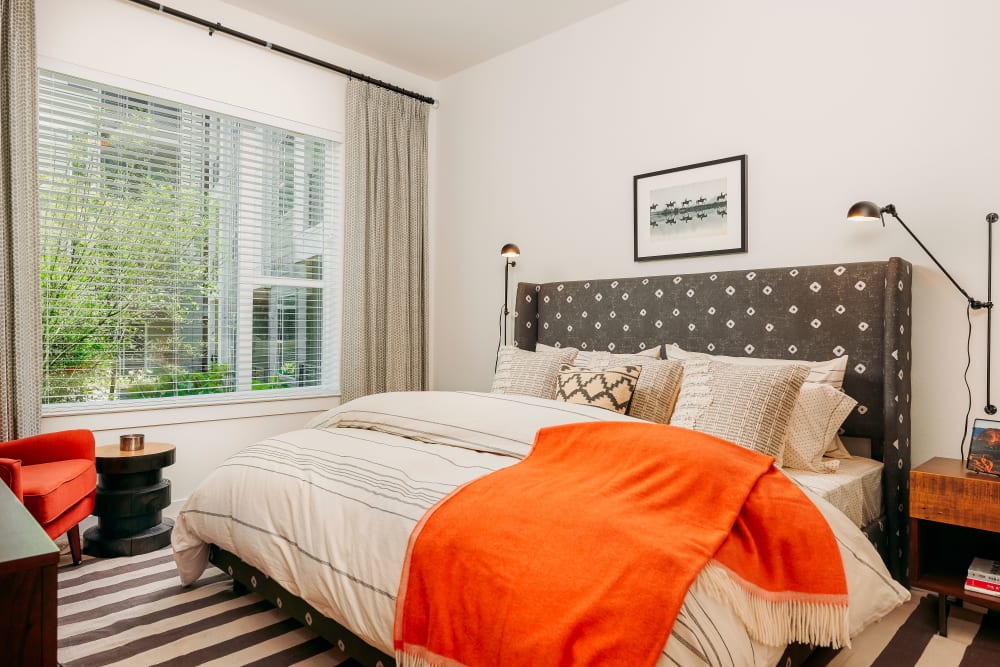 Beautiful bedroom at The Copeland in Austin