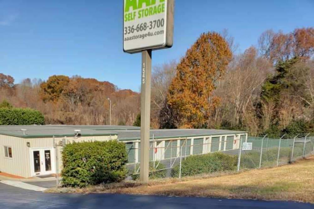 Outside of AAA Self Storage at Pleasant Ridge Rd in Greensboro, North Carolina.