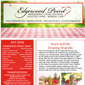 JulyEdgewood Point Assisted Living Newsletter