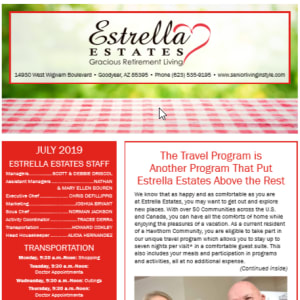July Estrella Estates Gracious Retirement Living Newsletter