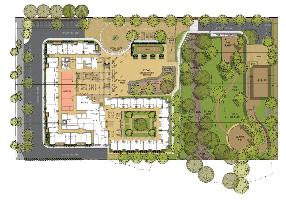 The site map at Carefield Living Encinitas in Encinitas, California.