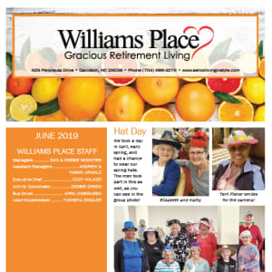 June Williams Place Gracious Retirement Living Newsletter