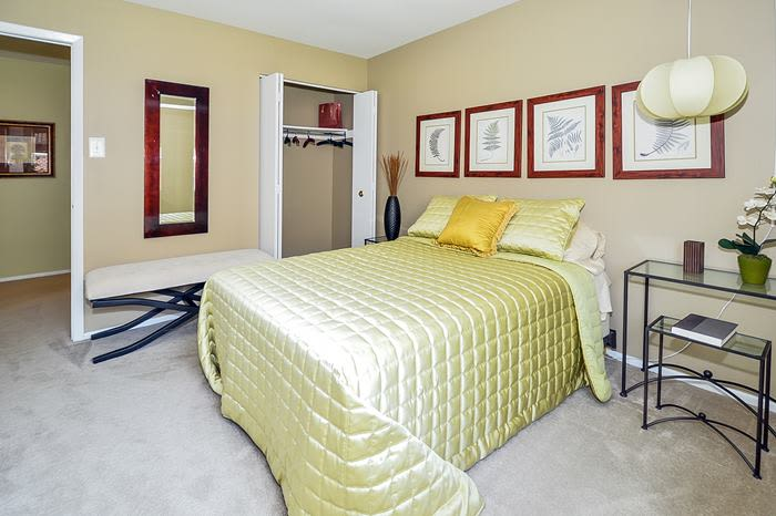 Lovely decorated bedroom at Forge Gate Apartment Homes in Lansdale, PA