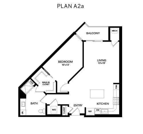 1 bedroom & 1 bathroom A2a: 905 sq. ft. floor plan at Avenida Watermarq at Germantown senior living apartments in Germantown, Tennessee
