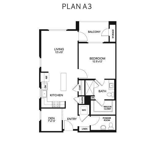 1 bedroom & 2 bathroom A3: 893 sq. ft. floor plan at Avenida Palm Desert senior living apartments in Palm Desert, California