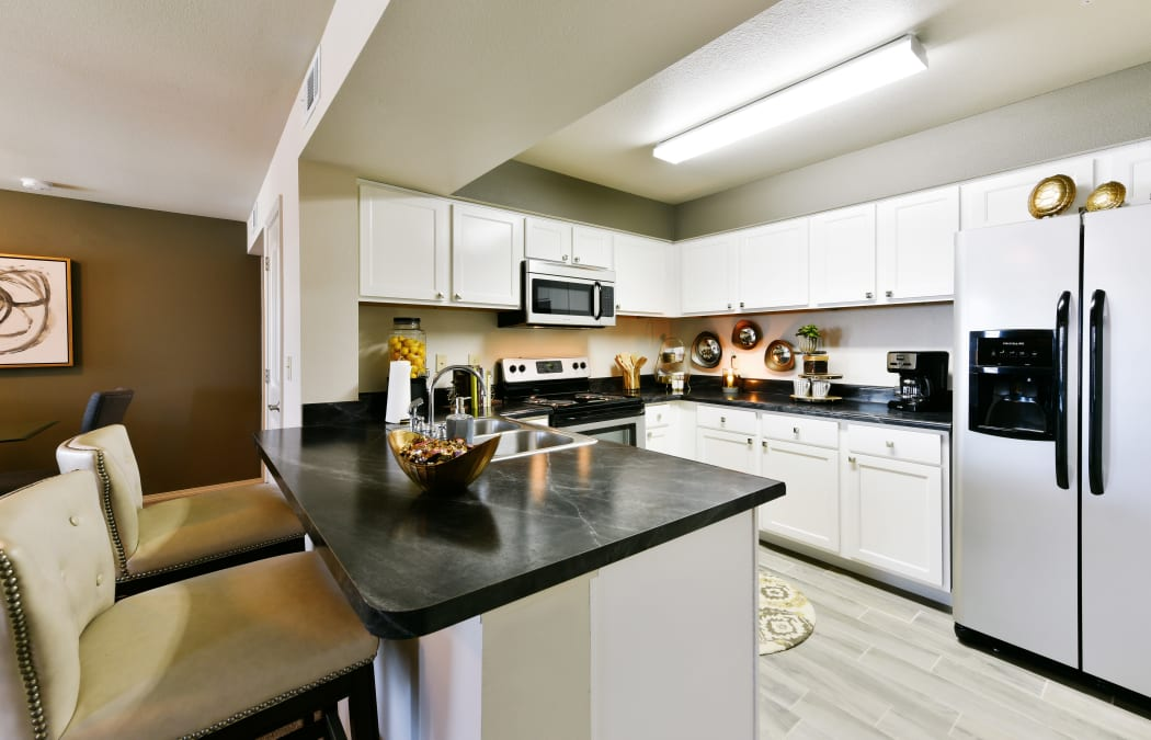 Spacious kitchen at Cottages at Abbey Glen Apartments in Lubbock, Texas