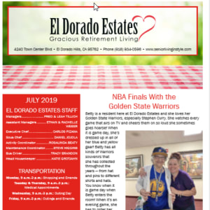 April El Dorado Estates Gracious Retirement Living Newsletter