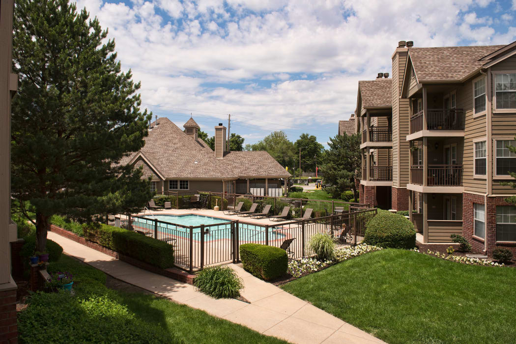 A gated community pool at Crown Chase Apartments in Wichita, Kansas
