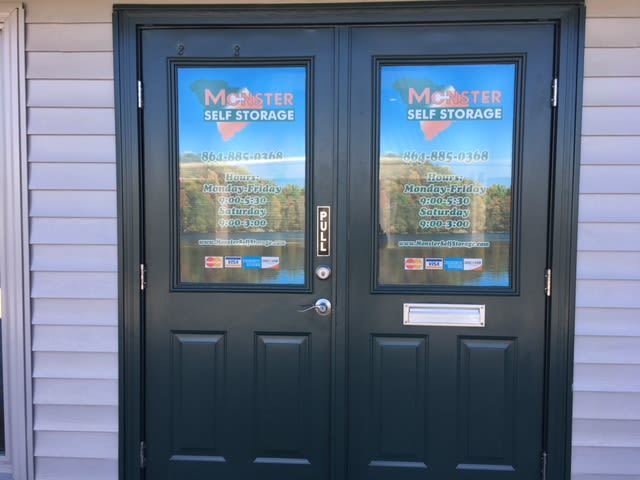 Front doors of Monster Self Storage in Seneca, South Carolina