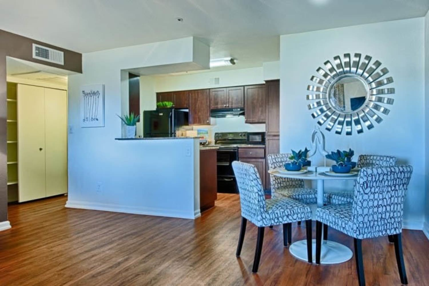 Cabrillo Apartments offer lovely dining room interiors in Scottsdale, Arizona,