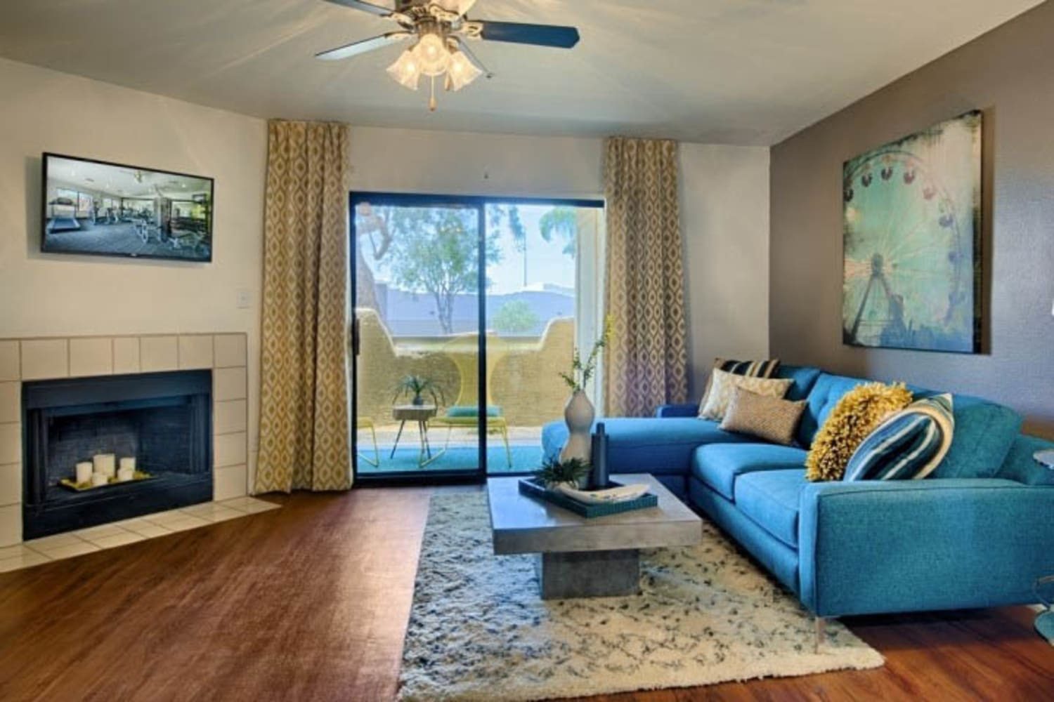 Living room at Cabrillo Apartments in Scottsdale, Arizona