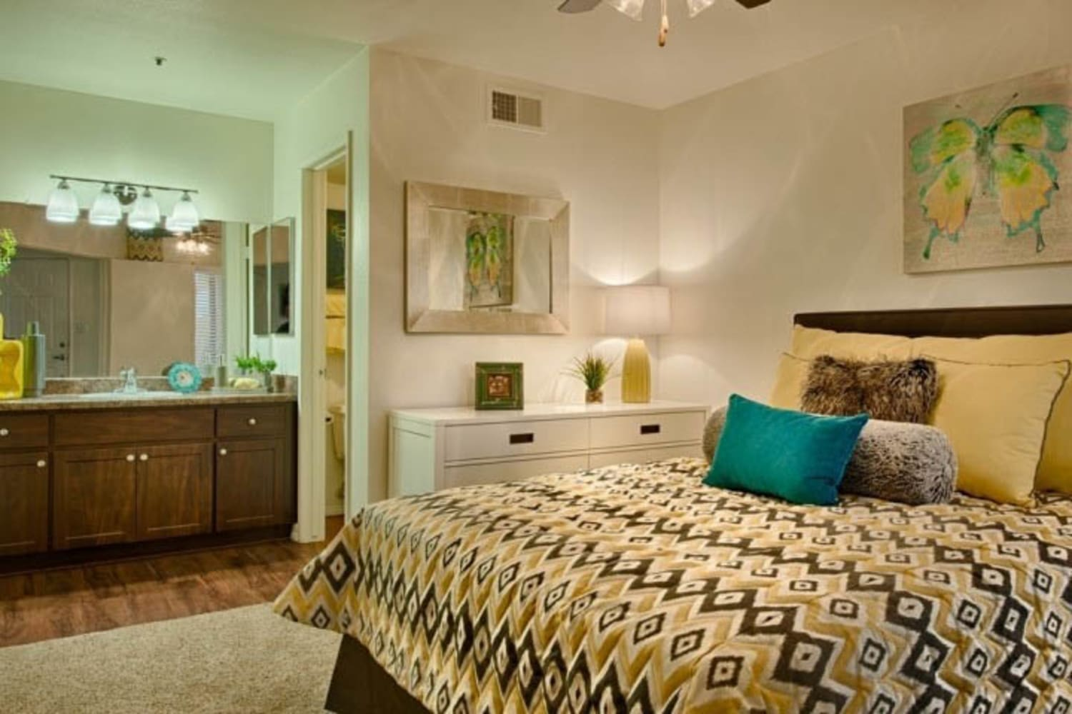 Cabrillo Apartments offer large master bedroom interiors in Scottsdale, Arizona
