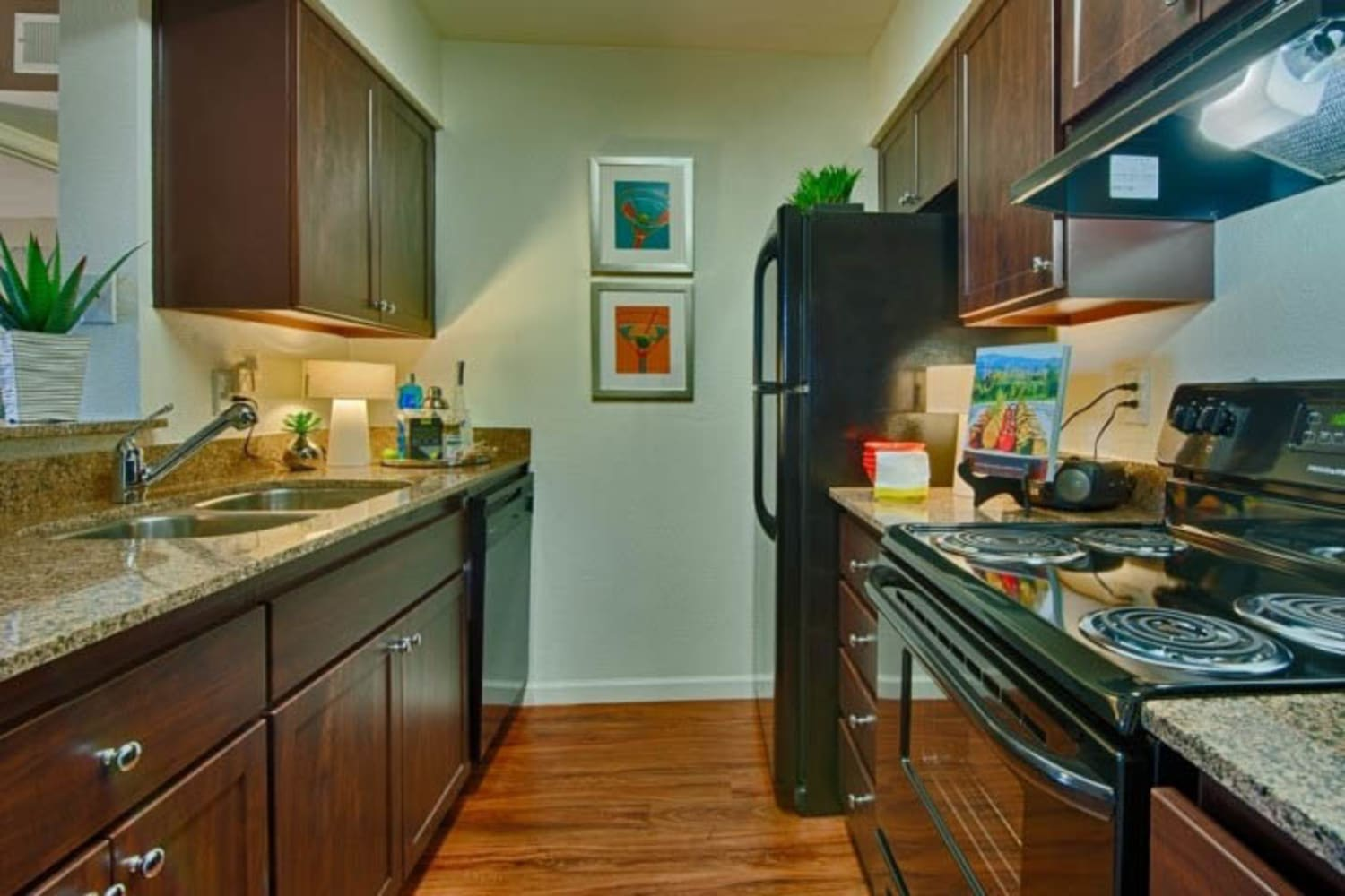 Cabrillo Apartments offer modern kitchen interiors in Scottsdale, Arizona