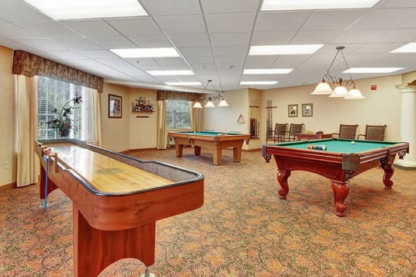 Pool table, shuffleboard, and more games at Keystone Villa at Douglassville in Douglassville, Pennsylvania