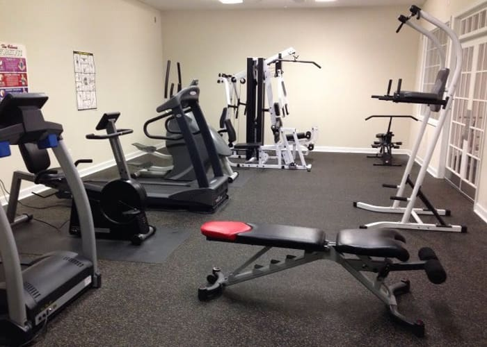 Heritage Apartments offers a fitness center in Hillsborough, North Carolina