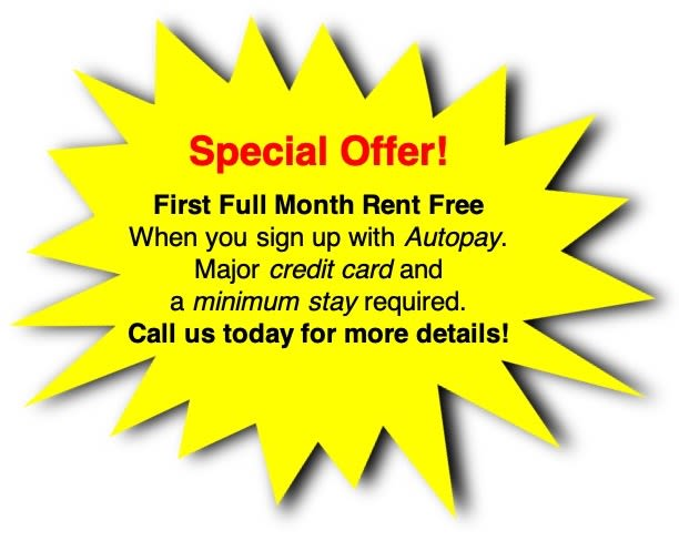 Special offer! First full month rent free at Global Self Storage in McCordsville, Indiana
