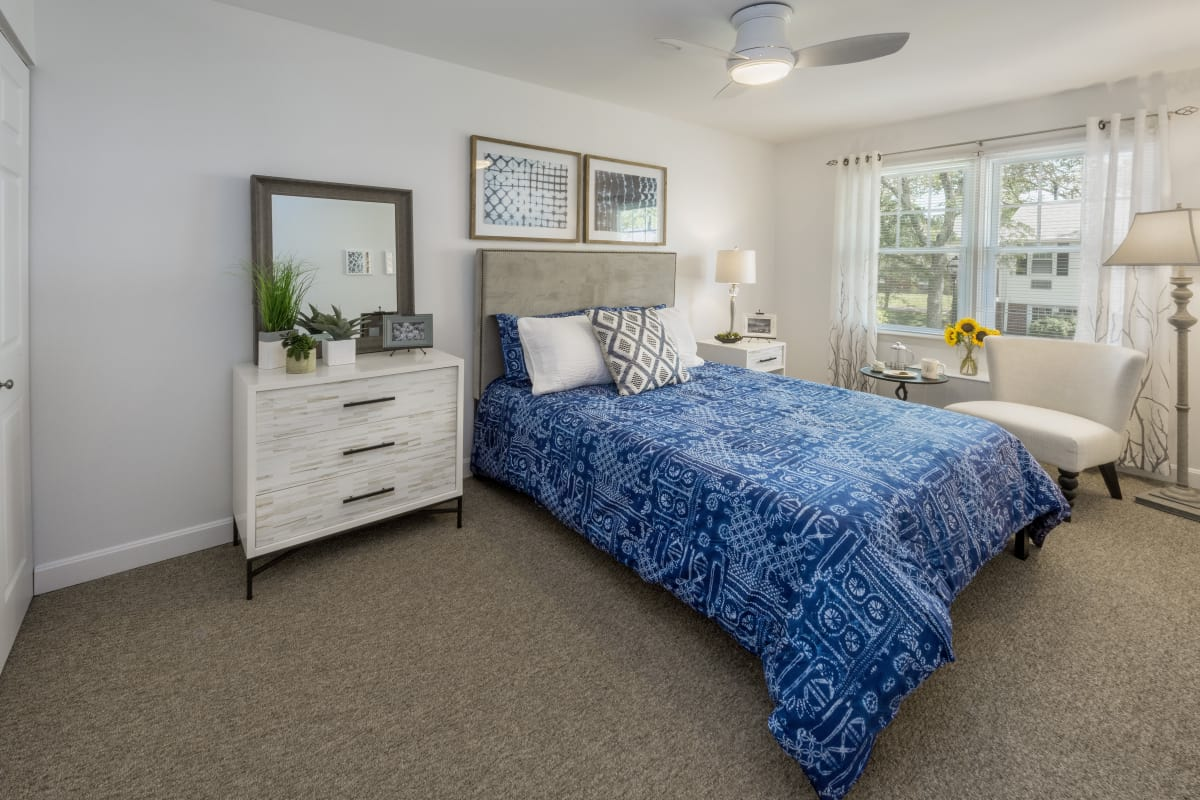 Spacious master bedroom in model home at President Village in Fall River, Massachusetts