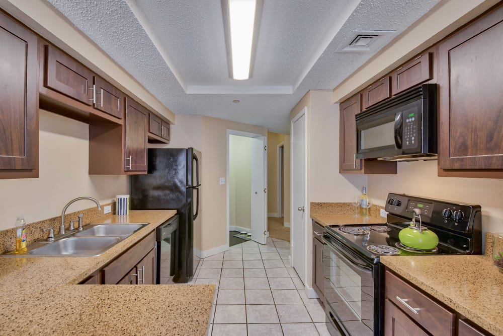 Spacious kitchen at apartments in San Antonio, Texas