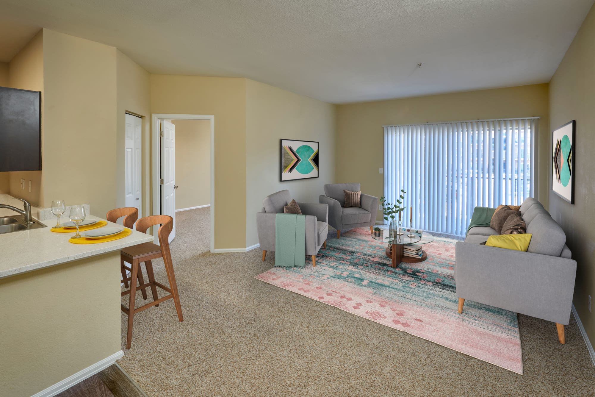 A model living room at The Crossings at Bear Creek Apartments in Lakewood, Colorado