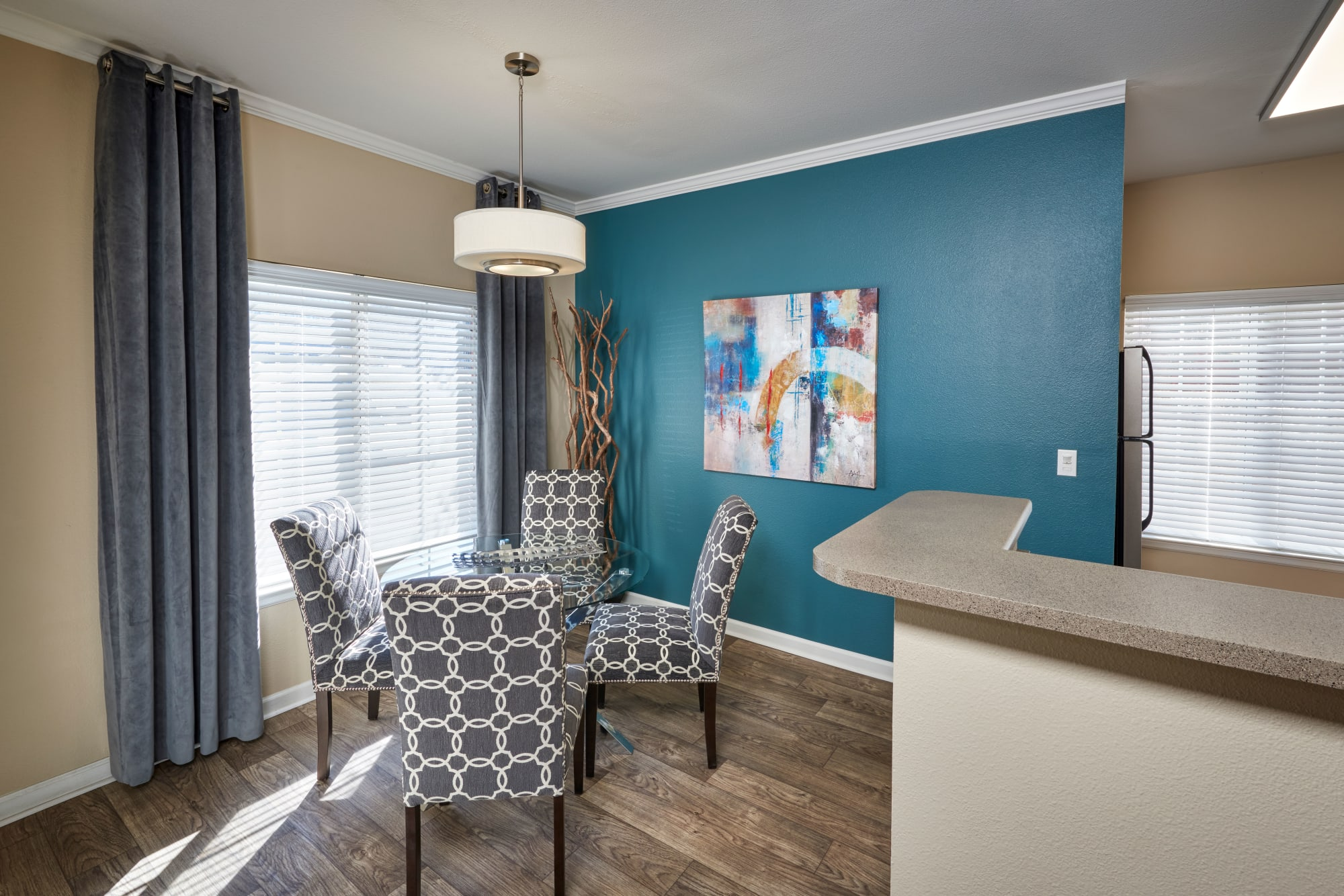 Dining room at Skyecrest Apartments in Lakewood, Colorado