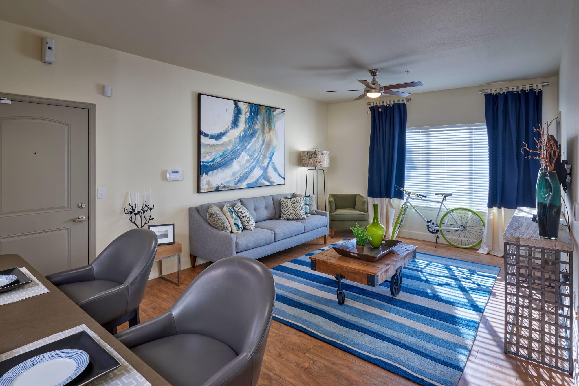 An apartment interior, full of natural light, at M2 Apartments in Denver, Colorado