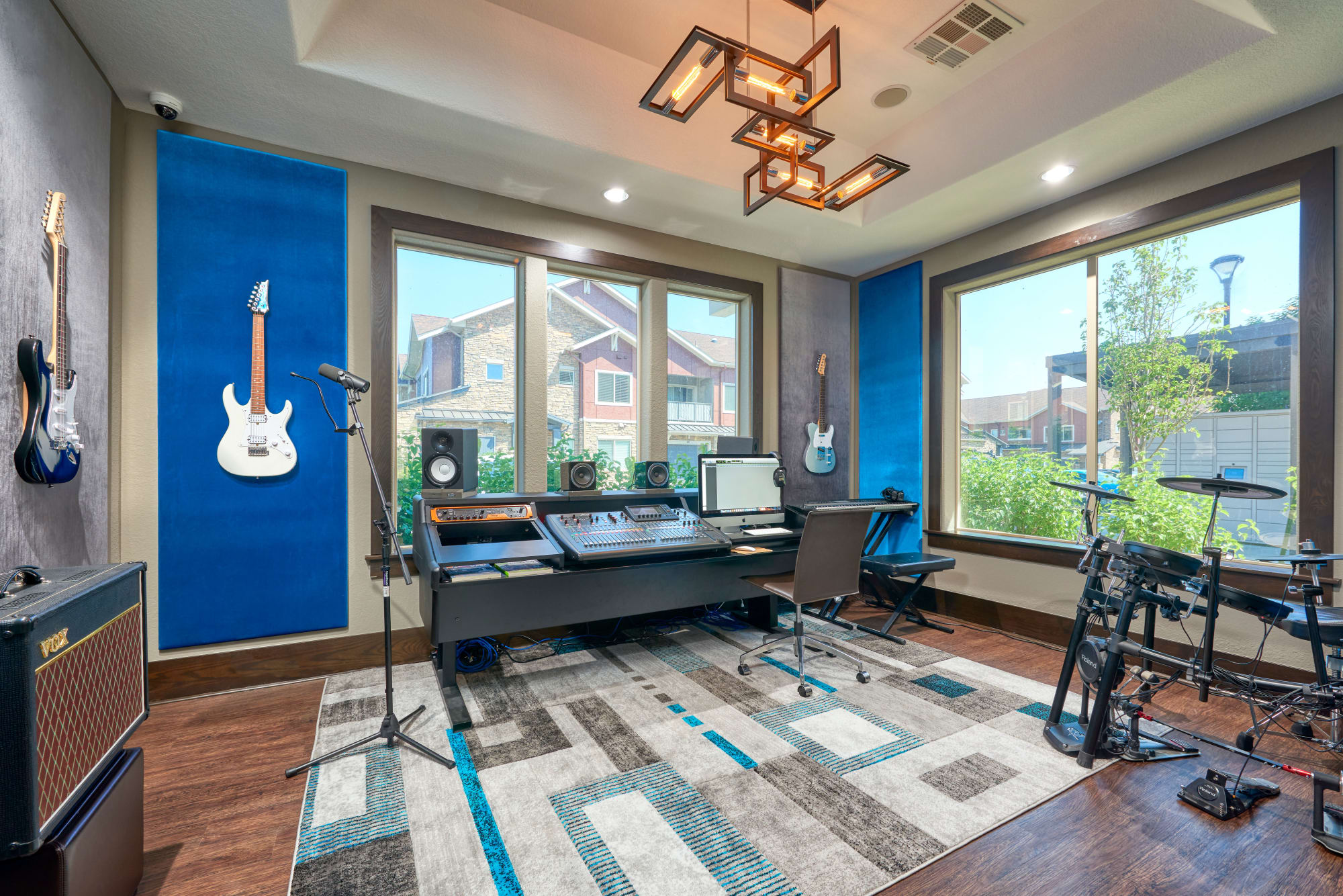 The recording studio, setup for music, podcasts, and streaming, at M2 Apartments in Denver, Colorado