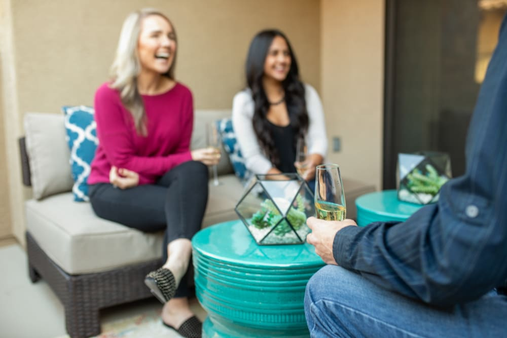 Residents enjoying a drink in their new home at Remington Ranch in Litchfield Park, Arizona