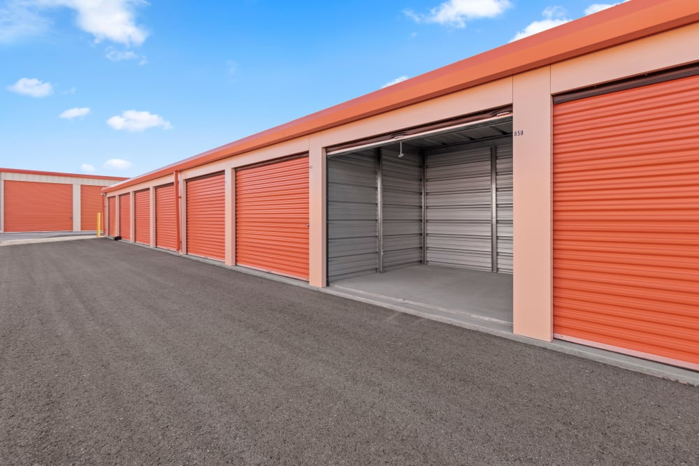Outdoor storage with open unit at Stor'em Self Storage in Payson, Utah