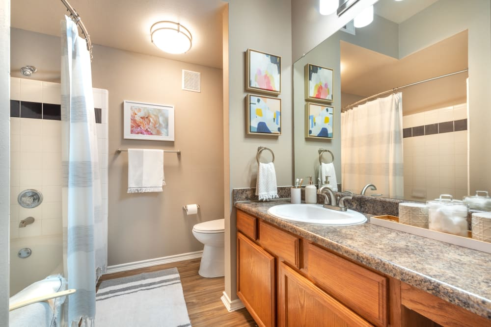 Large vanity mirror and a granite countertop in a model home's bathroom at Olympus Team Ranch in Benbrook, Texas