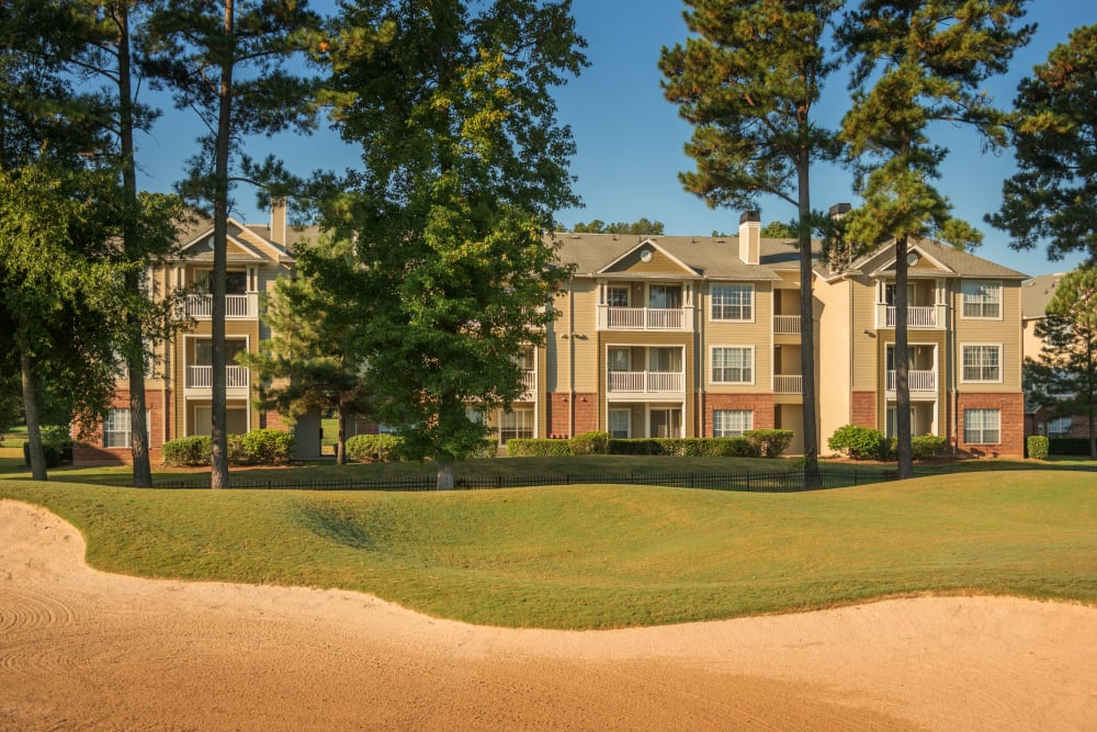 Golf sand dune by apartments at Preston View in Morrisville, North Carolina