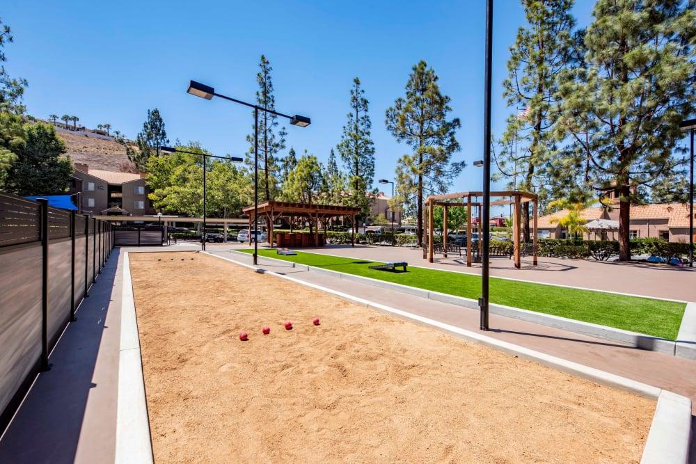 A bocce ball court at Sierra Del Oro Apartments in Corona, California