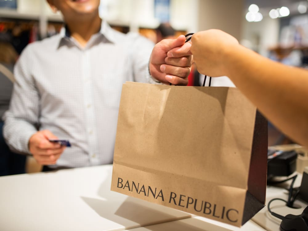 Resident shopping at Banana Republic near San Palmas in Chandler, Arizona