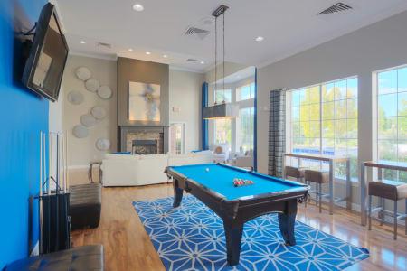 Bright blue billiards table at Preston View in Morrisville, North Carolina