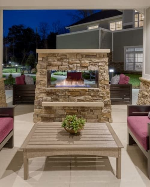 Outdoor fireplace at Stonecrest of Meridian Hills in Indianapolis, Indiana