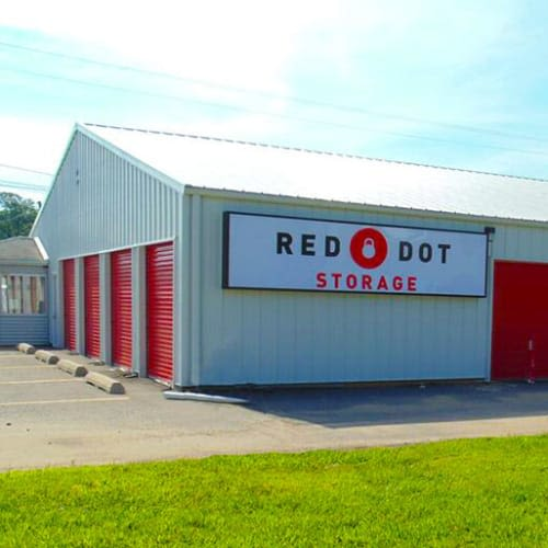 Outdoor storage units at Red Dot Storage in Waukesha, Wisconsin