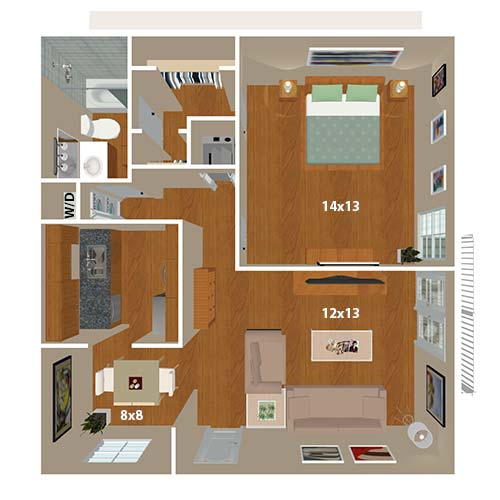 The Grassmere 1 bedroom floor plan at 865 Bellevue Apartments in Nashville, Tennessee.