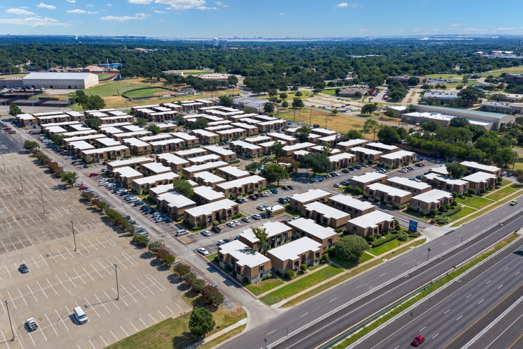 Aerial shot of the community at The Manchester Apartments in Euless, Texas