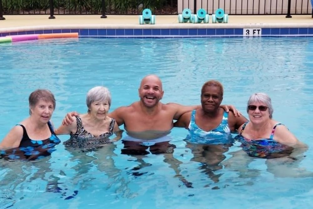 Enjoying the pool at Merrill Gardens at Solivita Marketplace in Kissimmee, Florida.