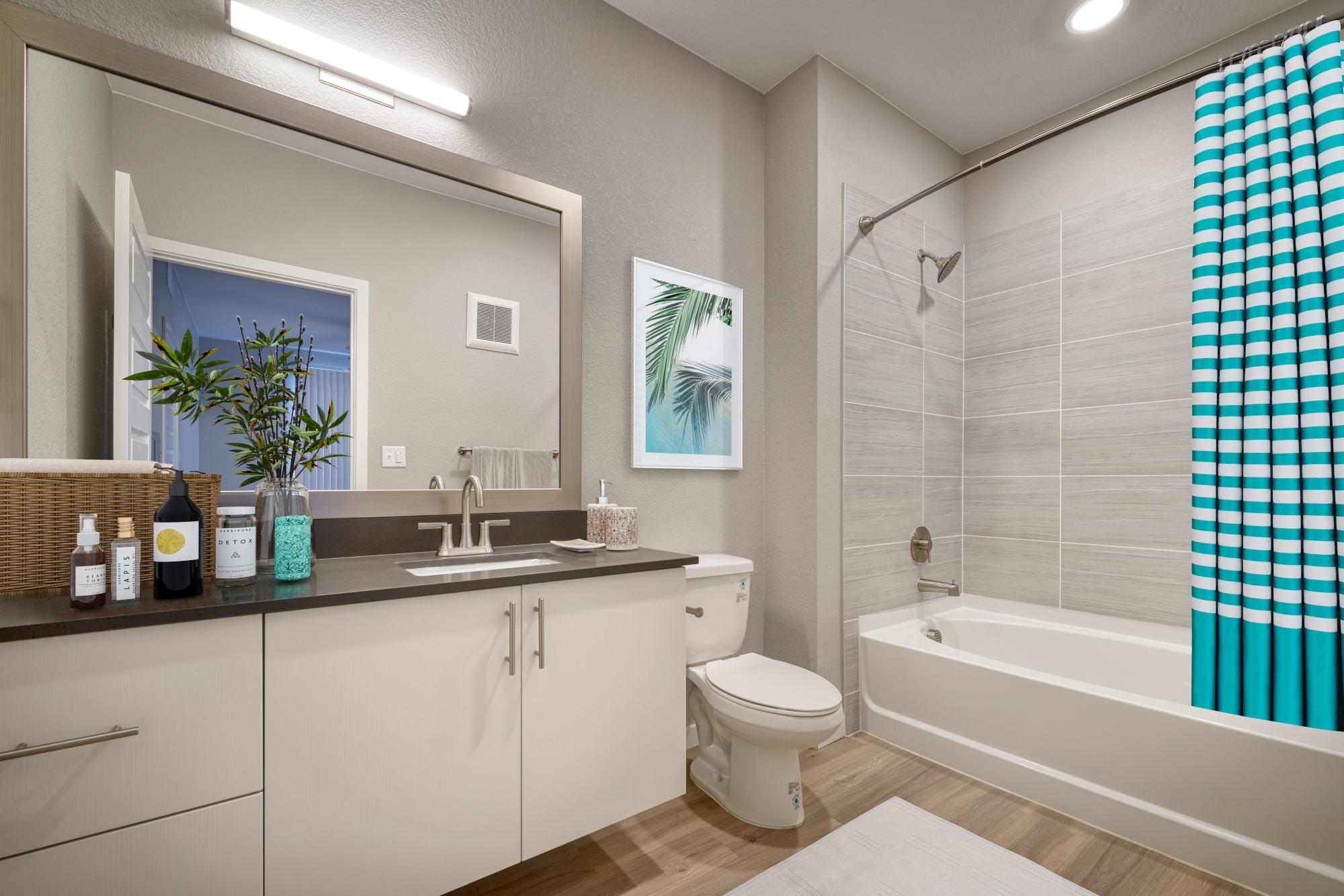 A spacious bathroom at Hawthorne Hill Apartments in Thornton, Colorado