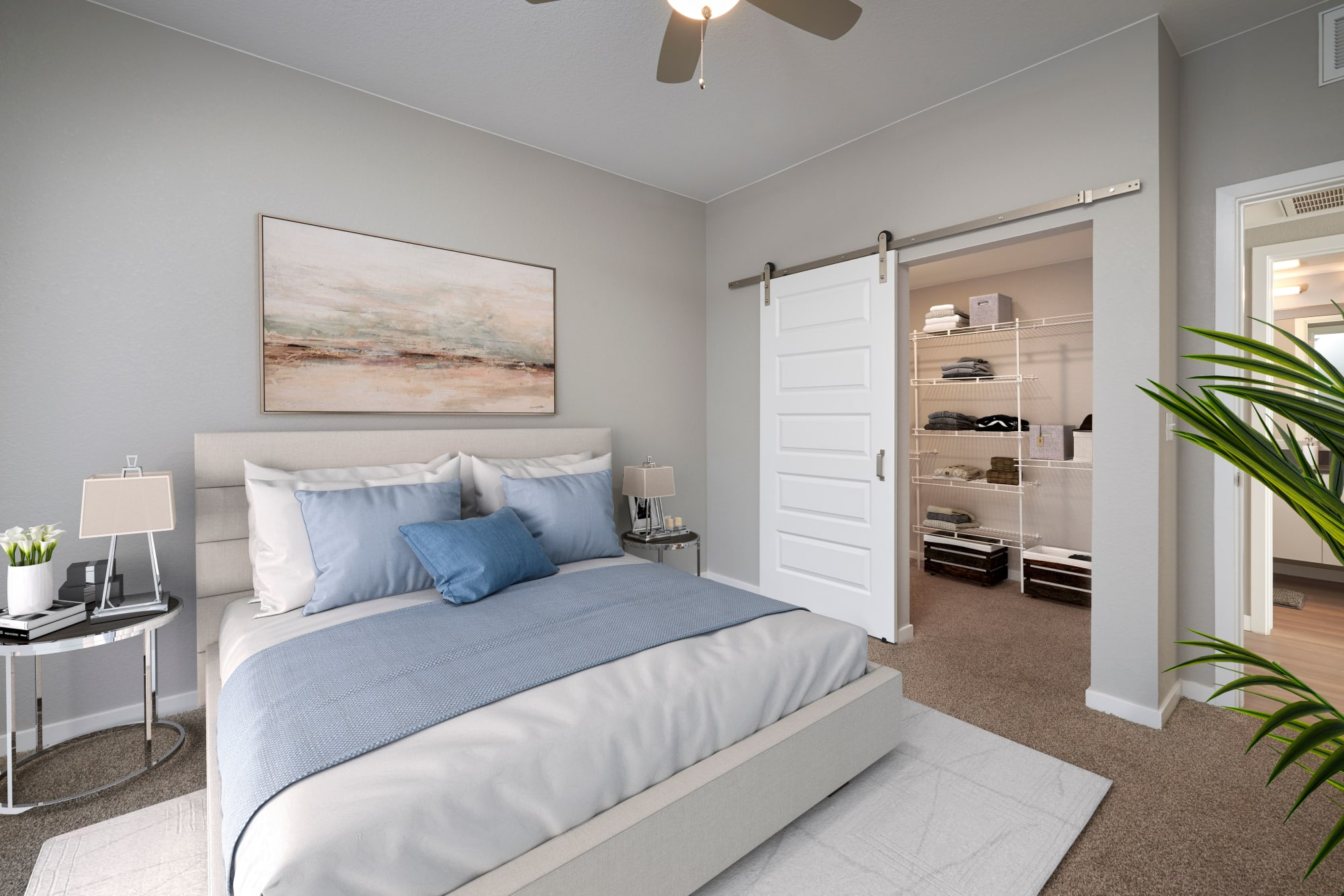 A bedroom with oversized closet at Hawthorne Hill Apartments in Thornton, Colorado