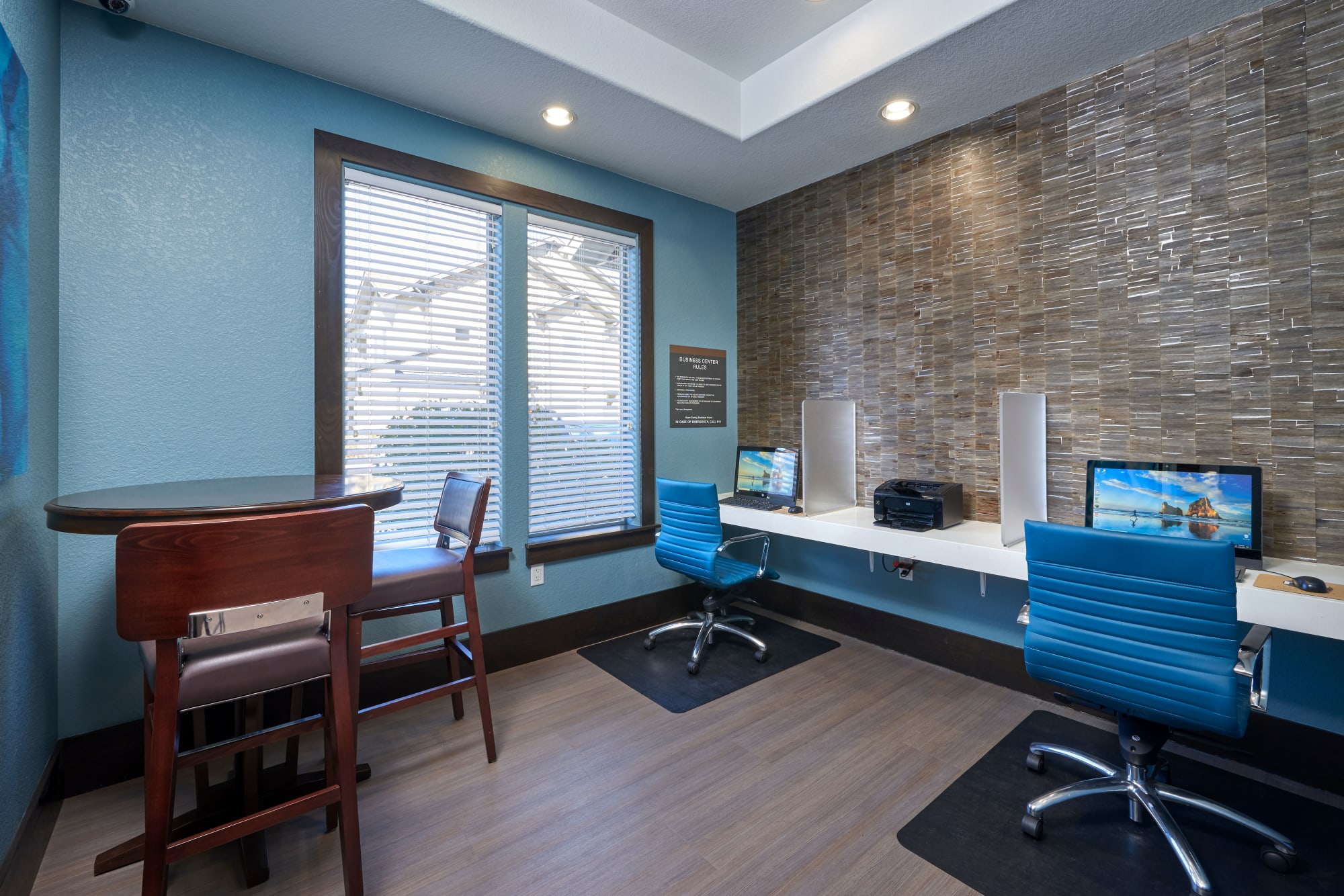 The business center at M2 Apartments, ready for any work-from-home needs in Denver, Colorado