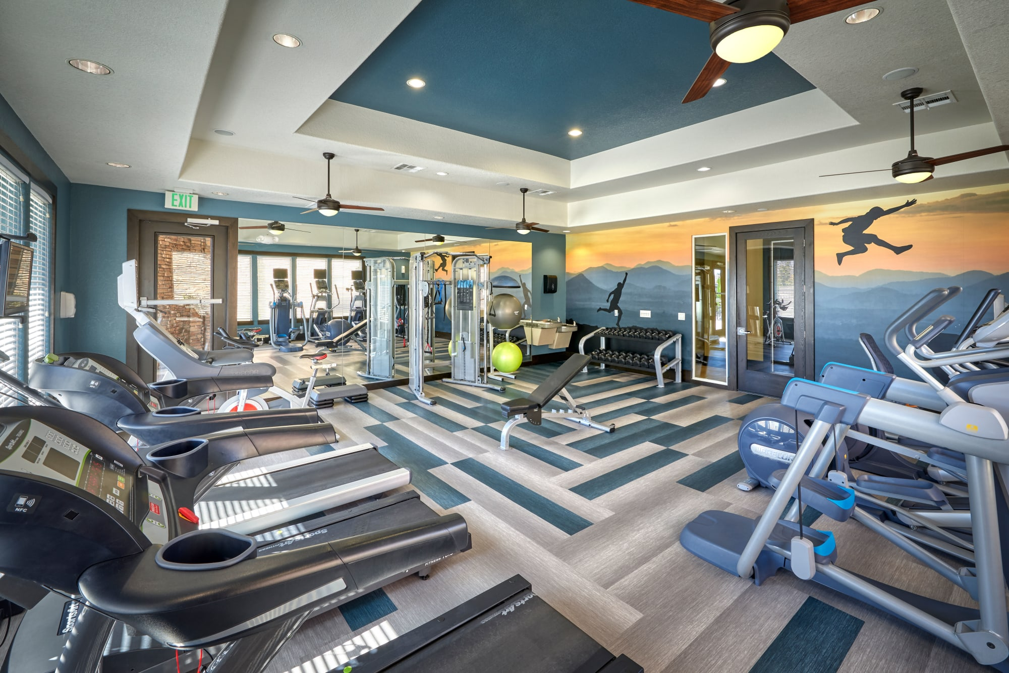 The comprehensive fitness center at M2 Apartments in Denver, Colorado