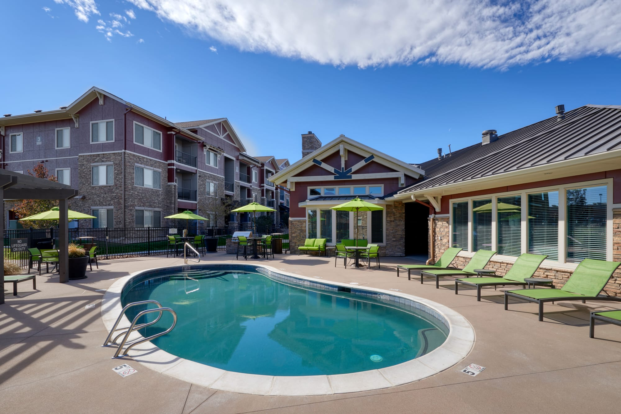 The year-round swimming pool and lounge area at M2 Apartments in Denver, Colorado