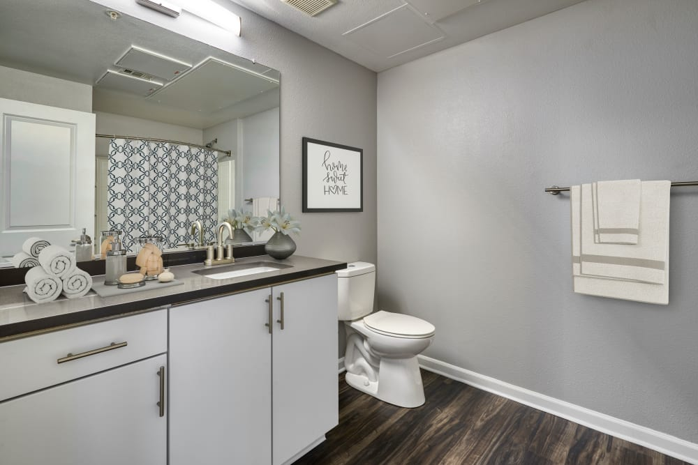 Decorated master bathroom with hardwood-style flooring at The Rail at Inverness in Englewood, Colorado